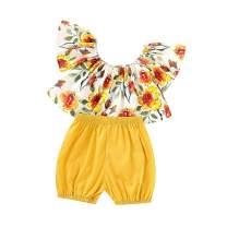 itkidboy Baby Girls Sleeveless Outfits Short Set Toddler Girl Ruffle Sleeveless Top + Sunflower Shorts Summer Clothes 2Pcs