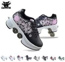 Roller Skates For Women,Shoes With Wheels For Girls/Boys,Men Outdoor Skates,Quad Skates For Kids,2 In 1 Double Line Skates/Kick Rollers Shoes For Adults,Parkour Deformed Shoes Unisex,Black2-5.5US