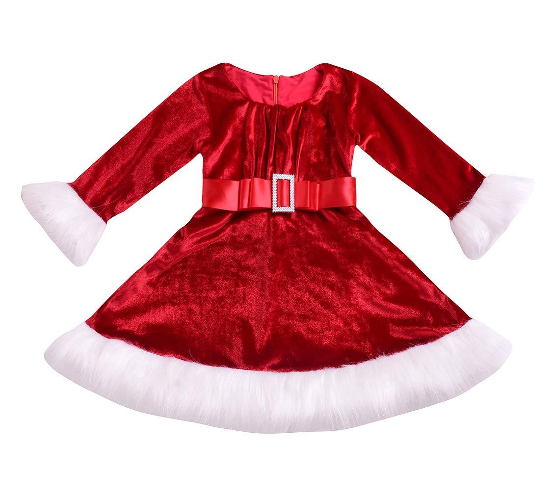 Little Girls' Holiday Christmas Santa Sparkle Hood Red Dress with Belt