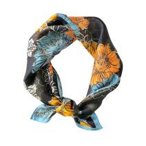 """100% Pure Mulberry Silk Scarfs Women Small Square Scarf 21"""" x 21"""" Breathable Lightweight Neckerchief Printed Headscarf"""