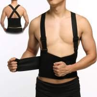 KIWI RATA Back Brace Support Belt with Suspenders Back Brace - Removable Shoulder Straps Lumber Belt for Lifting, Weightlifting Work, Lower Back Pain - Unisex Size for Men & Women