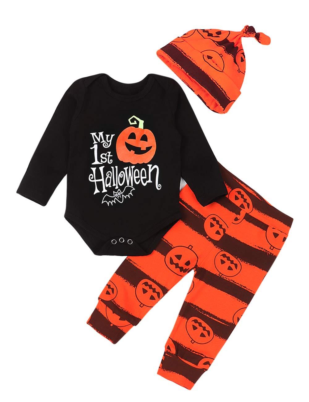 Baby Boy Girl Halloween Outfits My First Halloween Pumpkin Romper Bodysuit+Pants+ Cute Hat 3Pcs Clothes Set