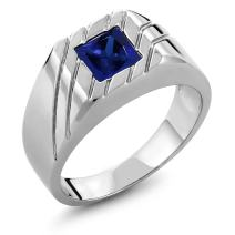 Gem Stone King 925 Sterling Silver Blue Created Sapphire Men's Ring (1.91 Cttw, Princess 7MM)
