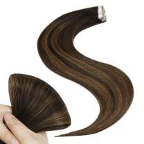[Mother's Day Special]YoungSee 16inch Remy Hair Extensions Tape in Balayage Tape in Extensions Dip Dyed Tape Human Hair Extensions Ombre Medium Brown Mixed Darkest Brown Tape Real Hair 20pcs/50g