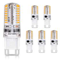 LEDERA Dimmable G9 LED Bulb 40W Equivalent, 400LM Warm White 3000K, AC 110V 120V 4W G9 Bi Pin Base, 360 Degree Beam Angle for Ceiling Light, Desk Lamp (6-Pack)