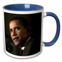 """3dRose mug_3865_6""""Barack Obama"""" Two Tone Blue Mug, 11 oz, Blue/White"""