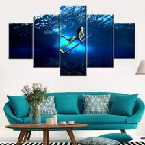 Surfing's Action Artwork Younger Girl Wearing Bikini Picture for Bedroom Pink Surfboard Artwork 5 Piece Prints Canvas Painting Contemporary Home Decor Framed Gallery-Wrapped Ready to Hang(60''Wx32''H)