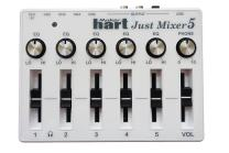 JUST MIXER 5 with Bluetooth Input & USB Audio Output - Compact USB Powered Stereo Desktop Mixer with 5 In (3.5mm / Bluetooth on CH1) and 3 Out (3.5mm / RCA/USB)
