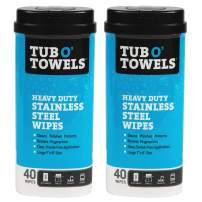 Tub O' Towels Stainless Steel Cleaning Wipes - Remove Fingerprints, Water Marks, Grease and Residue - Clean, Polish and Protect - 40 Count, 2-Pack