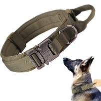 Tactical Dog Collar Military Dog Collar Adjustable Nylon Dog Collar Heavy Duty Metal Buckle with Handle for Dog Training ( Green ,M )