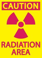 """ZING 1925 Eco Safety Sign, Caution Radiation Area, Recycled Plastic, 10"""" H x 7"""" W, Magenta on Yellow"""