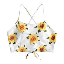 ZAFUL Women's Sunflower Tankini Set Adjustable Criss Cross Straps Bikini Ruched High Waisted Bathing Suit
