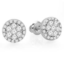 Dazzlingrock Collection 0.40 Carat (ctw) 14K Gold Real Round Cut White Diamond Ladies Cluster Flower Stud Earrings