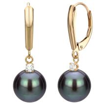 14k Yellow Gold 1/10cttw diamond Dyed-black Freshwater Cultured High Luster Pearl Lever-back Earrings (G-H, SI1-SI2) - Choice of Pearl Sizes