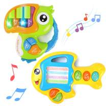 GILOBABY 2PCS Musical Toys Piano Keyboard Animals Fish & Bird Toys with Lights & Music, Early Educational Learning Development Gift for Baby, Infants, Toddlers, Boys, Girls Age 1+