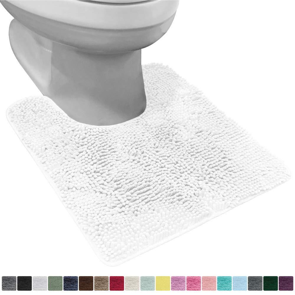 Gorilla Grip Original Shaggy Chenille Oval U-Shape Contoured Mat for Base of Toilet, 22.5x19.5 Size, Machine Wash and Dry, Soft Plush Absorbent Contour Carpet Mats for Bathroom Toilets, White