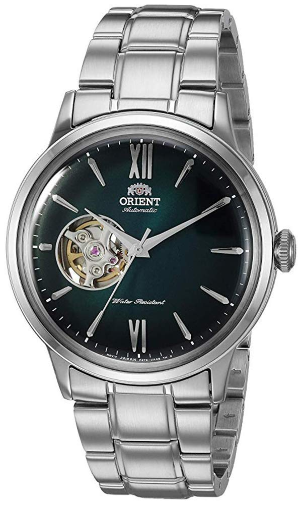 """Orient Men's """"Helios' Stainless Steel Japanese-Automatic / Hand Winding Open-Heart Display"""