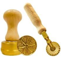 LaGondola Bundle : 1 Round Corzetti Stamp,1 Pasta Cutter Festoneed in Brass and Natural Wood