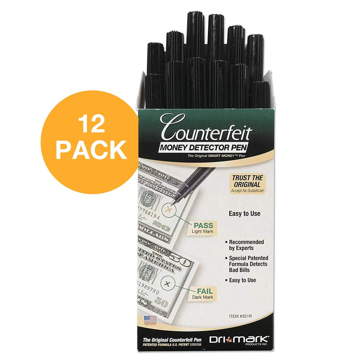 Dri-Mark 351R1 Smart Money Counterfeit Bill Detector Pen for Use w/U.S. Currency (Pack of 12)