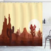 "Ambesonne Cactus Shower Curtain, Arid Country Landscape with Sunset in Stone Desert Saguaro and Mountains, Cloth Fabric Bathroom Decor Set with Hooks, 75"" Long, Yellow Brown"