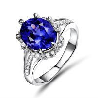 Lanmi 14K White Gold Natural Tanzanite Real Diamond Ring Engagement Wedding Band for Women