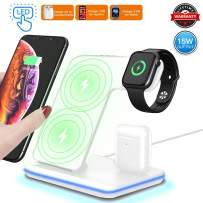 3 in 1 Wireless Charger,15W/10W Qi Fast Wireless Charger Stand for iPhone 11/11 Pro/11 Pro Max/Xs/Xs Max/XR/X/8/8P/Galaxy S10+/S9,Wireless Charging Station with LED Light Fits for iWatch/Airpods-White