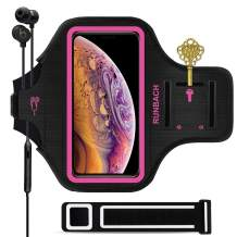 RUNBACH iPhone 11 Pro Max/iPhone Xs Max Armband, Sweatproof Running Exercise Bag with Fingerprint Touch and Card Slot for 6.5 Inch iPhone 11 Pro Max/iPhone Xs Max (Pink)