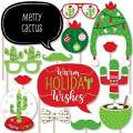 Big Dot of Happiness Merry Cactus - Christmas Cactus Party Photo Booth Props Kit - 20 Count