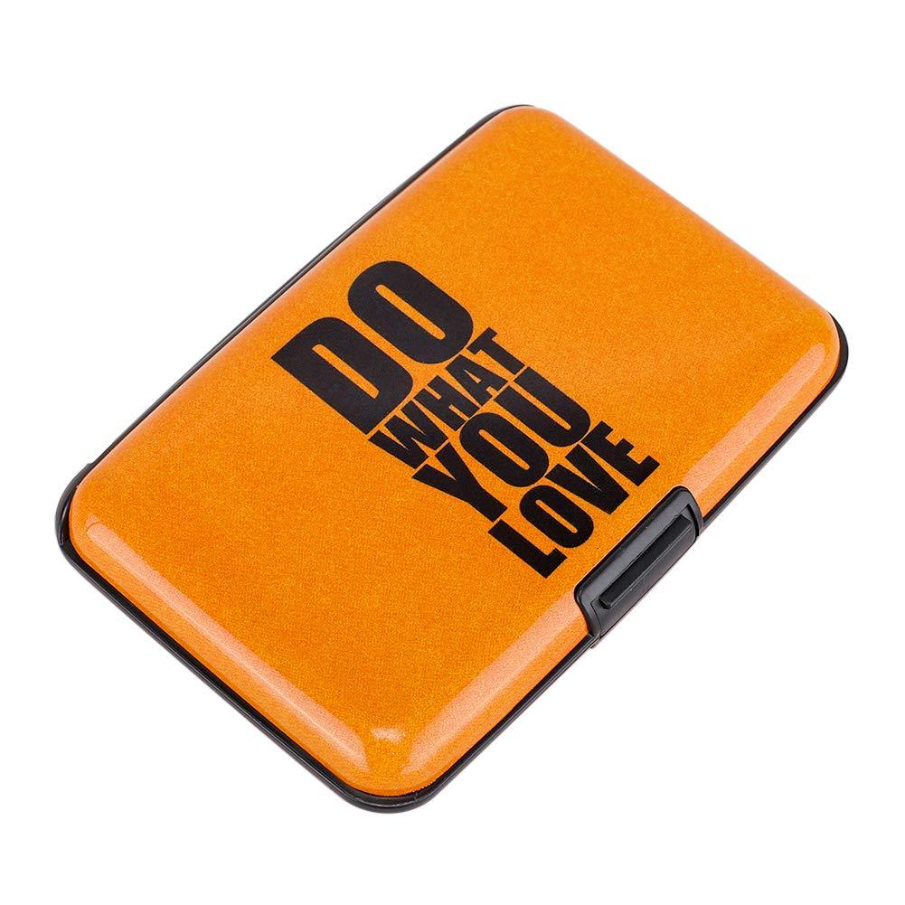 Elfish RFID Blocking Credit Cards Holder Aluminum Wallet Metal ID Case for Men Women (yellow do)