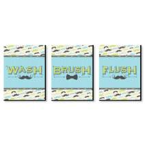 Big Dot of Happiness Dashing Little Man - Mustache Kids Bathroom Rules Wall Art - 7.5 x 10 inches - Set of 3 Signs - Wash, Brush, Flush