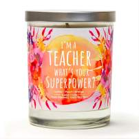 I'm A Teacher, What's Your Superpower | Citrus Peach | Soy Wax Scented Candles | Lemon | Peach | Orange | 10 Oz Scented Candle | Thinking of You Gifts for Women | Gifts for Teachers | Teacher Gifts