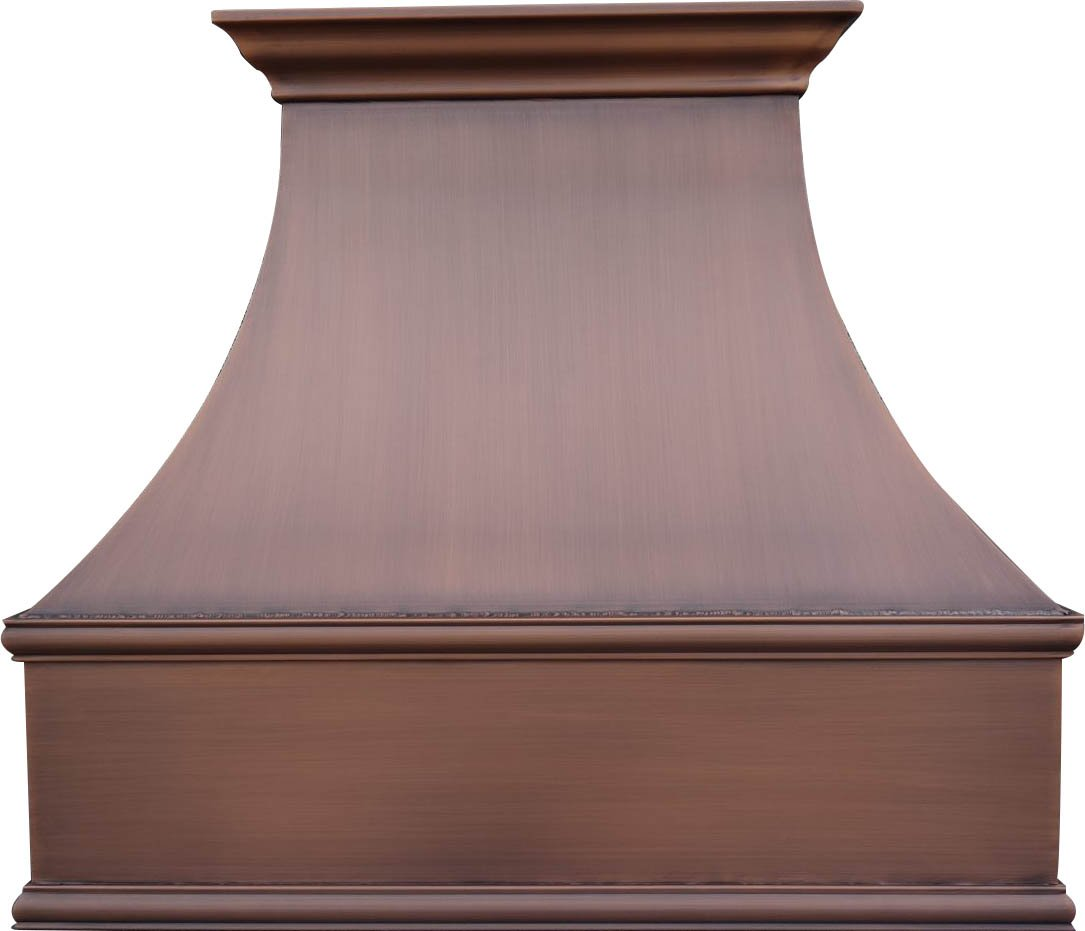 """SINDA Custom Copper Range Hood Made from 99.9% Pure Virgin Copper with High CFM Vent, H7SW3627, 36""""Wx27""""H, Wall Mount, Smooth Texture-Antique Copper"""