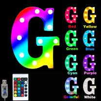 16 Color Changing Marquee Letter Light,Light Up Colorful 26 Alphabet Signs – Home Decor Name Signs – Battery Operated LED Remote Timer – Lighted Vintage Accessories & Decorations-G