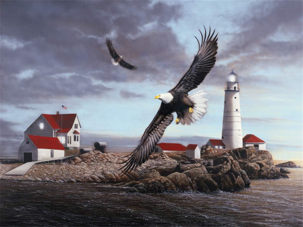 Puzzles for Adults 1000 Piece Large Puzzle, Vintage Paintings Landscape Jigsaw Puzzle(Lighthouse&Eagle)