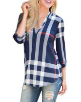 Mansy Women's Casual 2/3 Sleeve V-Neck Plaid Shirts Pullover Top