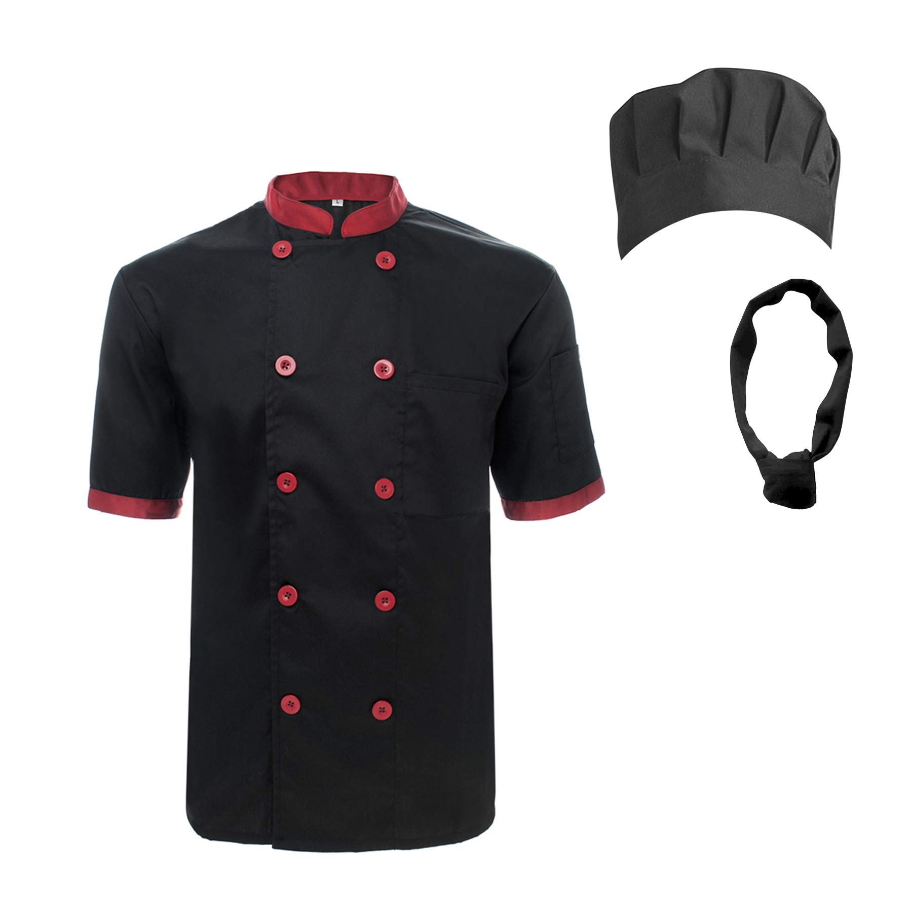 TOPTIE Unisex Short Sleeve Cooking Chef Coat Jacket & Hat & Bandana Set