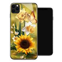 iPhone 11 Case,Butterfly Golden Sunflower iPhone 11 Cases for Girls,Tempered Glass Pattern Design Back Cover[Shock Absorption] Soft TPU Bumper Frame Support Case for iPhone 11 Yellow Lily White