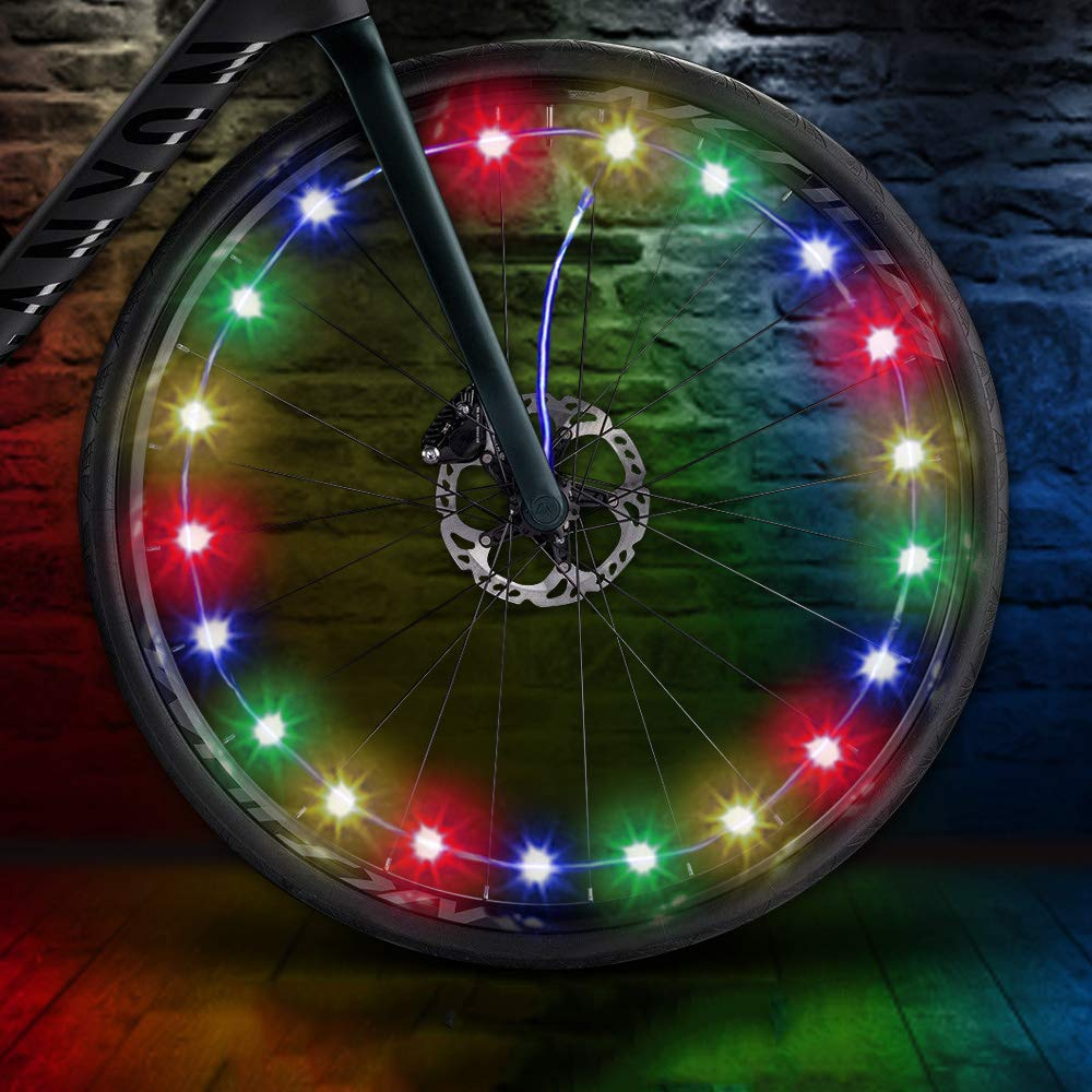 LED Bike Wheel Lights, LEDGLE Colorful Battery Operated Bike Tire Lights, Cycling Wheel Safety Light Spoke Decoration, Automatic Lighting Waterproof Bicycle Wheel Light String, 1 Tire Pack