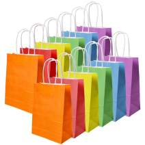 JCREN 30 Pieces Gift Bags Kraft Paper Bags Paper Candy Bags Shopping Bags Party Favor Bags with Handles for Birthday Tea Party Gifts Wedding and Party Supplies,Party Celebrations Bags,6 Color