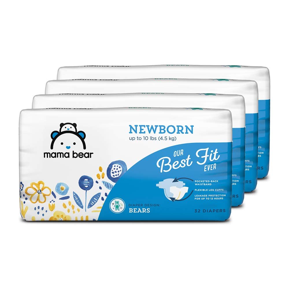 Amazon Brand - Mama Bear Best Fit Diapers, Newborn, 128 Count, Bears Print (4 packs of 32) [Packaging May Vary]
