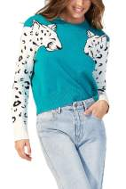 Women Long Sleeves Leopard Print Knit Cropped Sweater Casual Shirt Pullover Tops