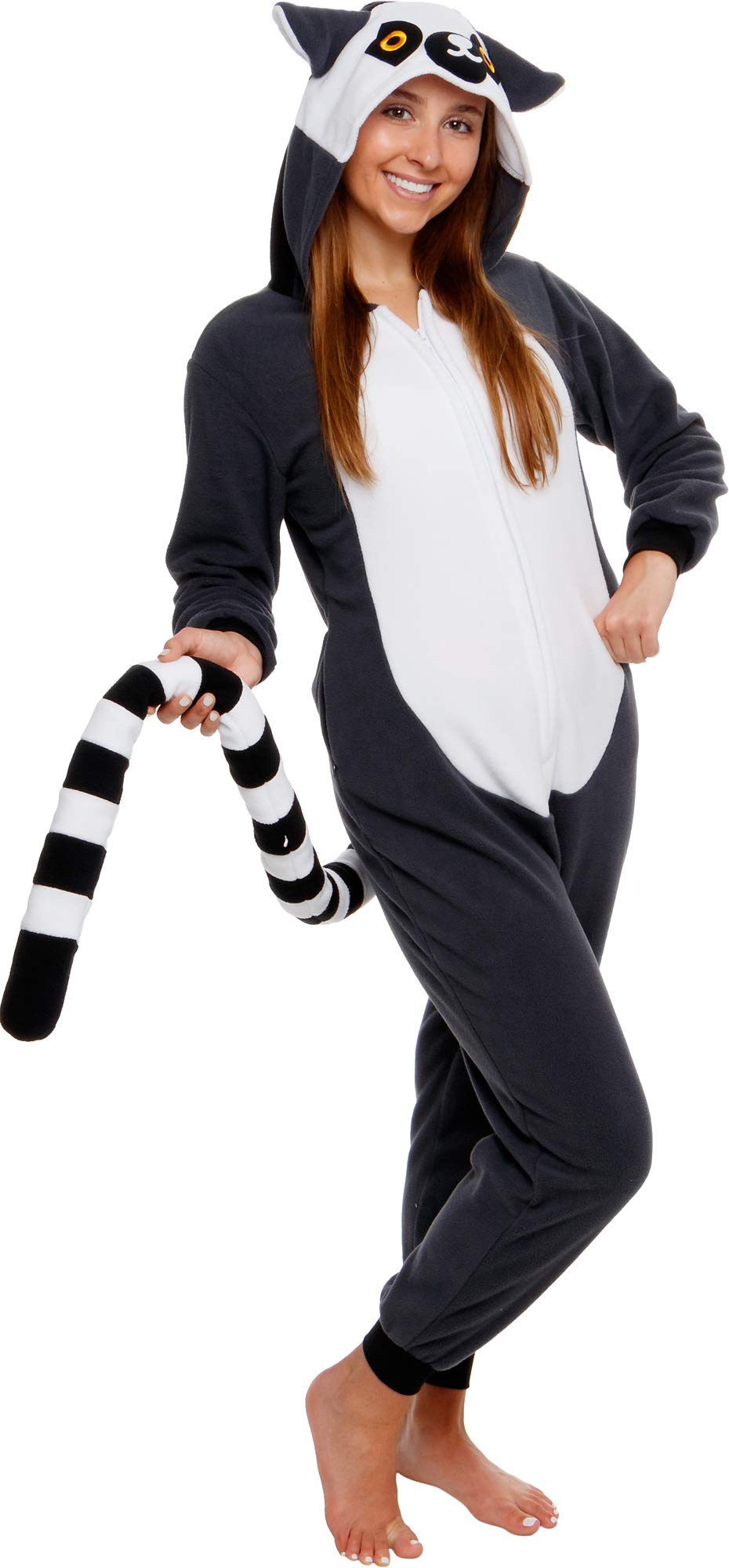 Silver Lilly Slim Fit Animal Pajamas - Adult One Piece Cosplay Lemur Costume