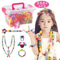 Conleke Pop Snap Beads Set 550 PCS for Kids Toddlers Creative DIY Jewelry Toys - Making Necklace,Bracelet and Ring - Ideal Christmas Birthday Gifts for 4,5,6,7,8 Year Old Girls (Box-Packaging)