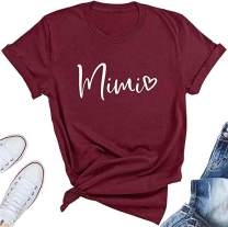 BANGELY Mimi Heart Graphic Cute Grandma T Shirt for Women Letter Print Short Sleeve Tees Casual Mimi Gift Tops with Sayings