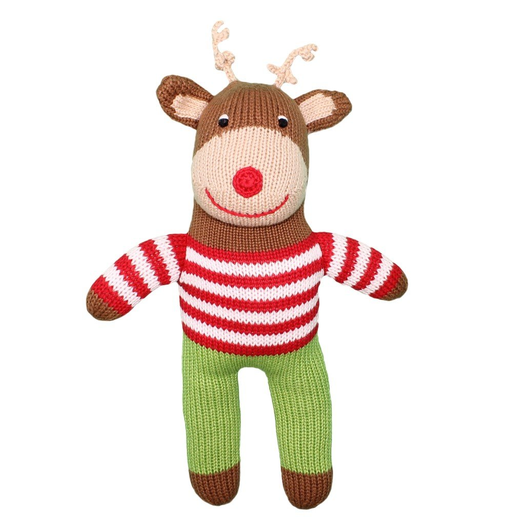 Zubels Baby Ralphy The Reindeer Hand-Knit Rattle Toy Doll, All-Natural Fibers, Eco-Friendly, 7-Inch