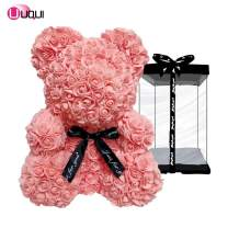 """U UQUI Rose Bear Teddy Bear Artificial Rose Bear Cub, Forever Rose Everlasting Flower Rose Bear with Fully-Assembled Gift Box, Anniversary Christmas Valentines Gift (10"""", Pink)"""