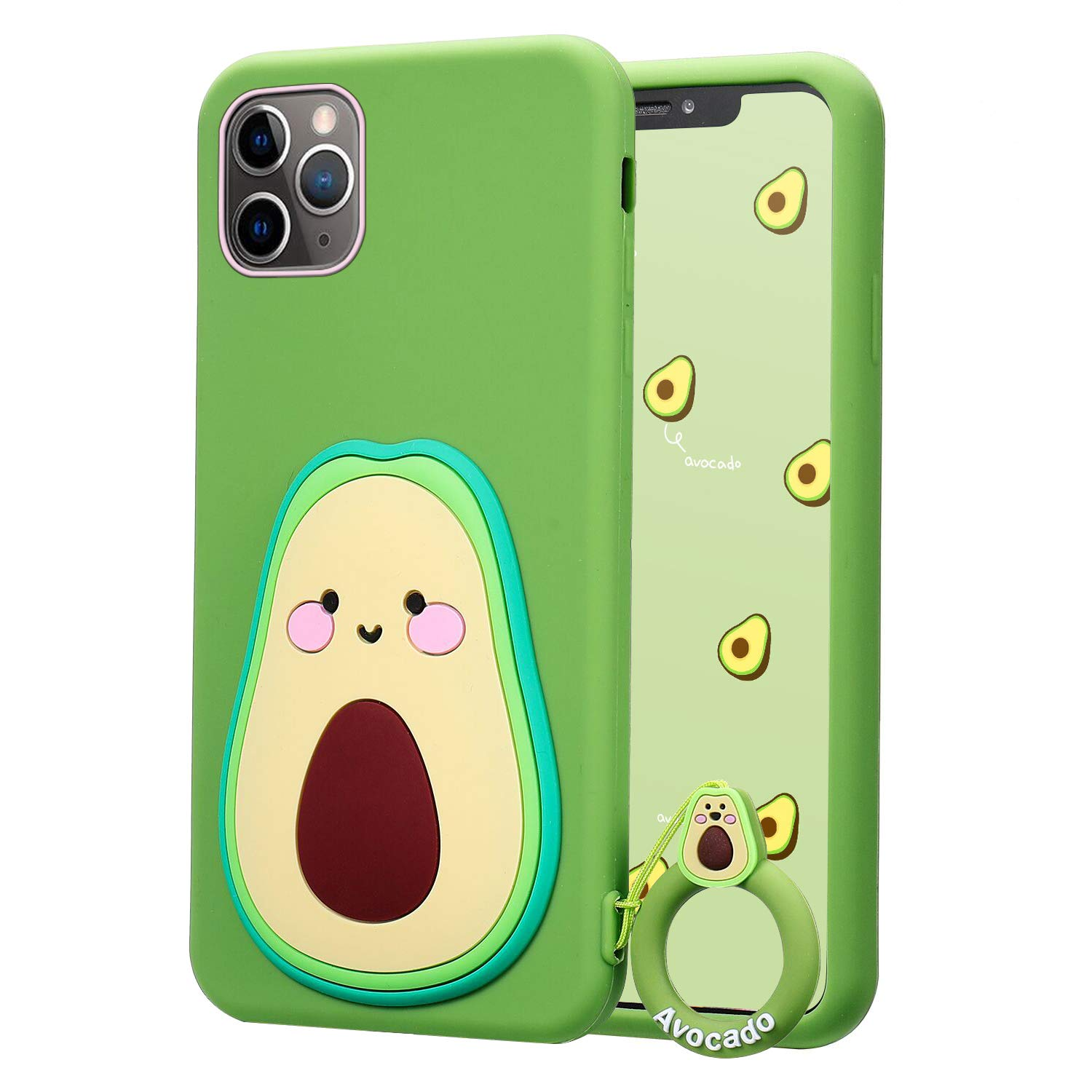 """Coralogo for iPhone 11 Case,3D Cute Cartoon Fun Funny Soft Silicone Character Shockproof Kawaii Fashion Fruit Food Stylish Design Designer Skin Cover Cases for Girls Teens Kids iPhone 11 6.1""""(Avocado)"""