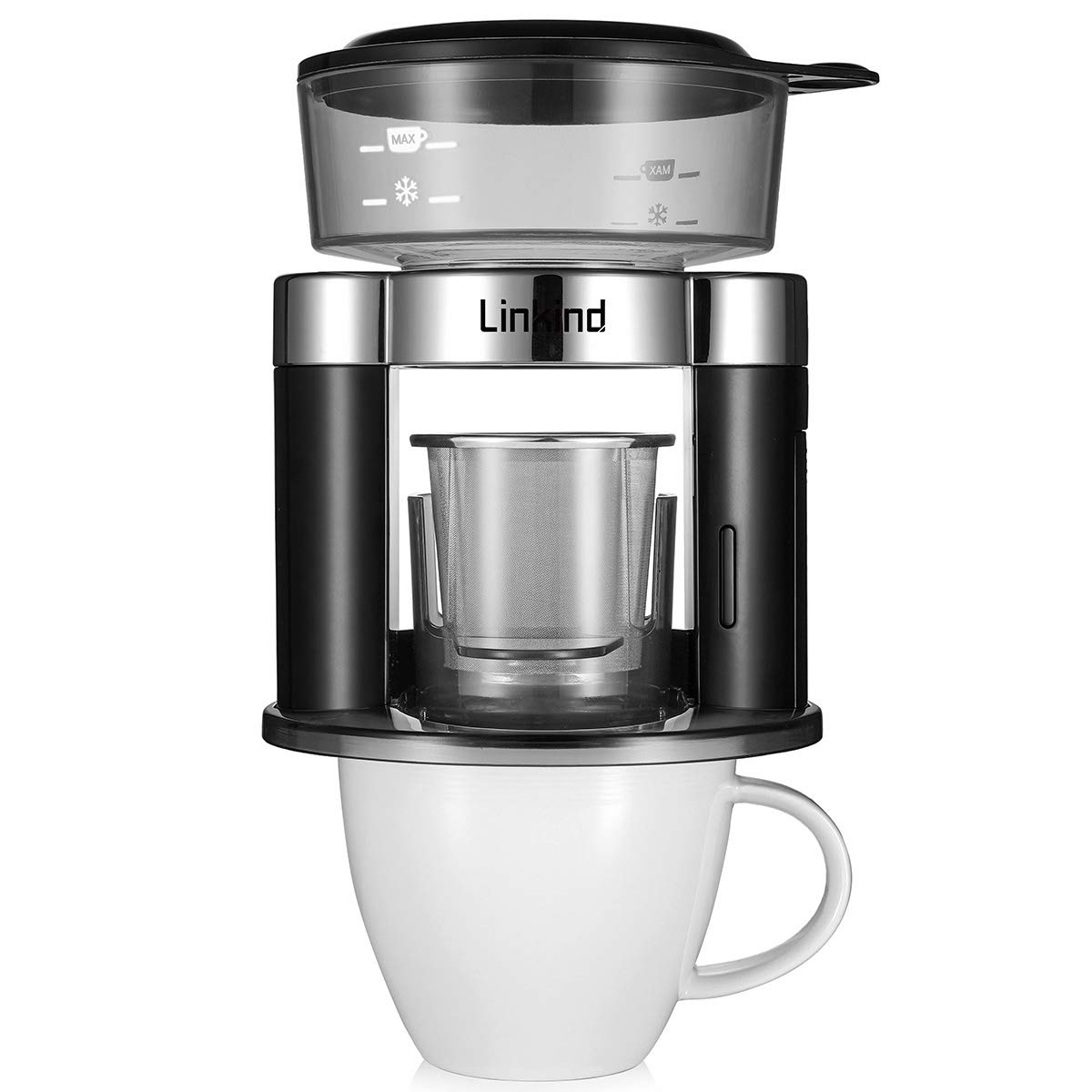 Linkind Automatic Pour Over Coffee Maker 120ml One Cup Battery Driven Brewer With Reusable Stainless Steel Filter Simulate Handcraft Compact In Size Portable For Indoor And Outdoor Use Black