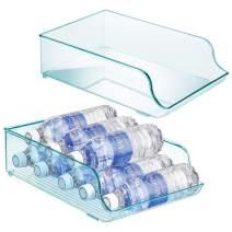 mDesign Wide Plastic Kitchen Water Bottle Storage Organizer Tray Rack - Holder and Dispenser for Refrigerators, Freezers, Cabinets, Pantry, Garage - 2 Pack - Sea Blue