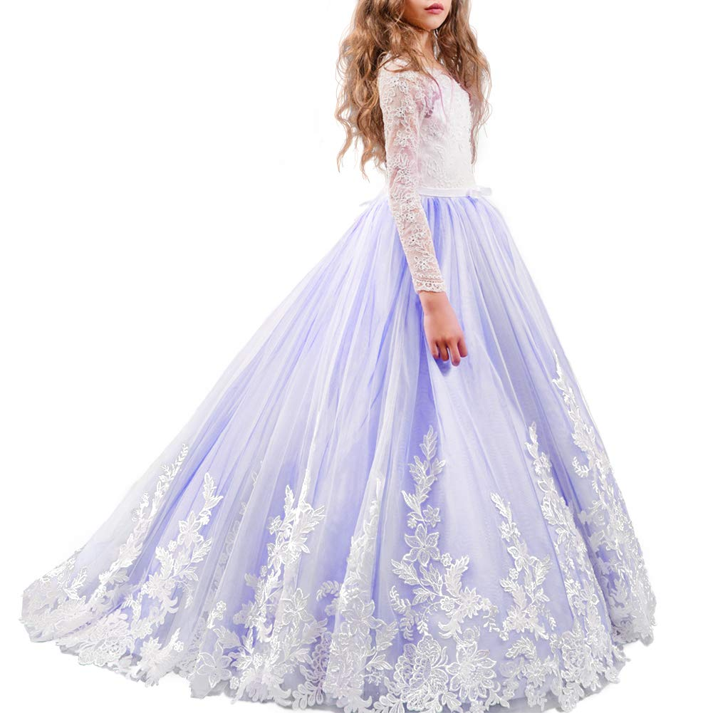 FYMNSI Flower Girl Tulle Dress Kids Lace Beaded Pageant Long Sleeve First Communion Christmas Wedding Cocktail Ball Gowns Royal Blue 4-5T